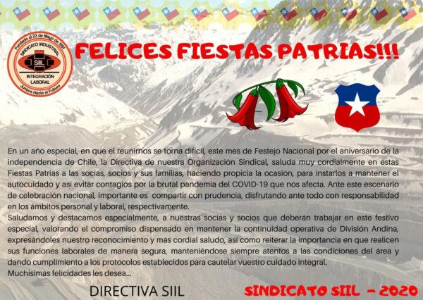 SALUDO FIESTAS PATRIAS SINDICATO SIIL